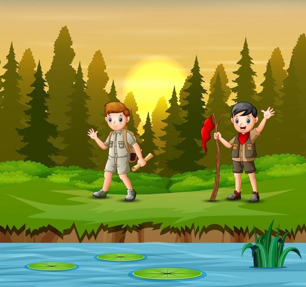 Pôr do sol na ilustração da floresta com um escoteiro