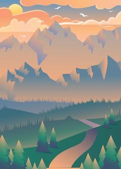 Pôr do sol na ilustração da floresta