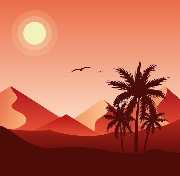 Pôr do sol na ilustração plana colorida do deserto. silhuetas de palmeiras e dunas de areia, pirâmides