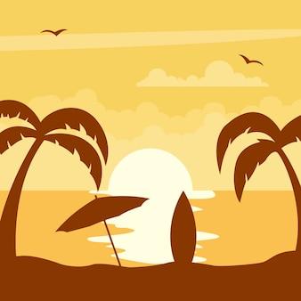 Pôr do sol na praia com guarda-chuva e prancha de surf