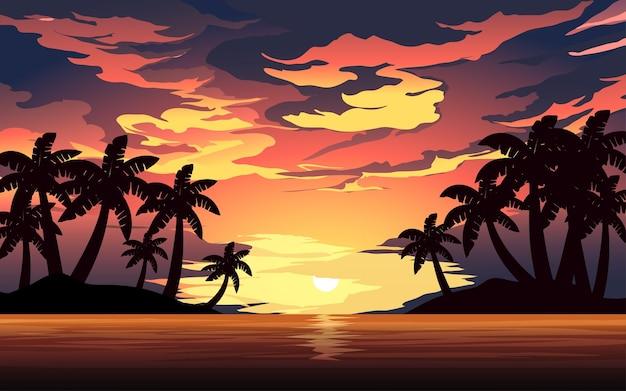 Pôr do sol na praia tropical com céu colorido