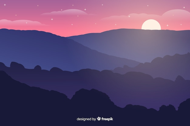 Pôr do sol nas montanhas com noite estrelada