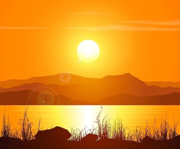 Pôr do sol nas montanhas rochosas