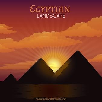 Por do sol nas pirâmides egípcias