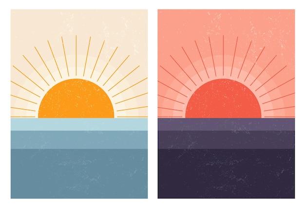 Pôr do sol, nascer do sol no mar. paisagem escandinava moderna abstrata de meados do século. fundo de natureza de arte mínima.