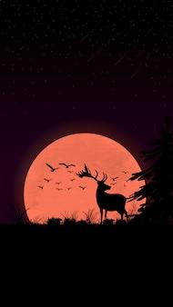 Pôr do sol no campo, silhueta de veados, pássaros, árvores e grama