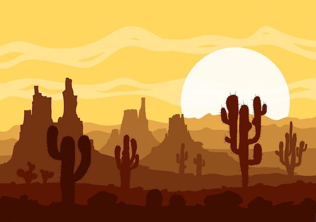 Pôr do sol no deserto de pedra com cactos e montanhas.