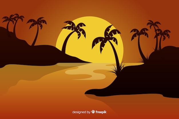 Pôr do sol no fundo da praia