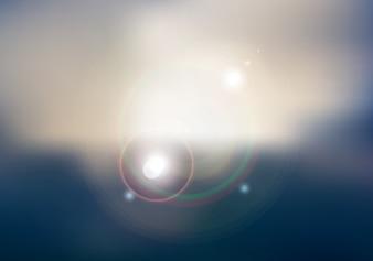 Pôr do sol ou nascer do sol céu e sol brilhando fundo desfocado