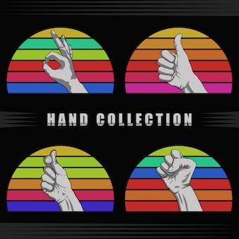 Por do sol retro da mão