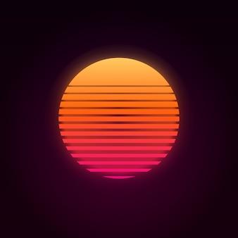 Por do sol retro dos anos 80