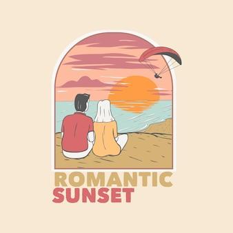 Pôr do sol romântico com amor na praia com parapente