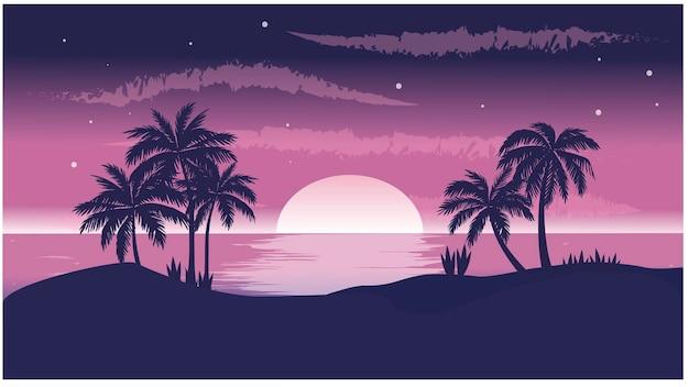 Pôr do sol roxo no mar
