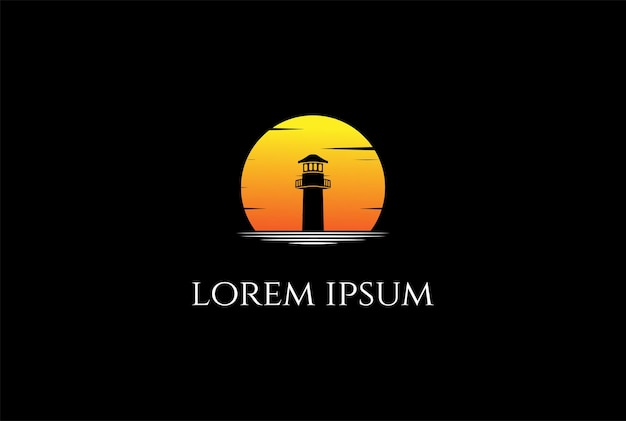 Pôr do sol sunrise farol holofote beacon tower island beach logo design vector