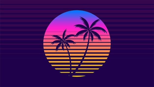 Pôr do sol tropical clássico retro dos anos 80 com palmeira