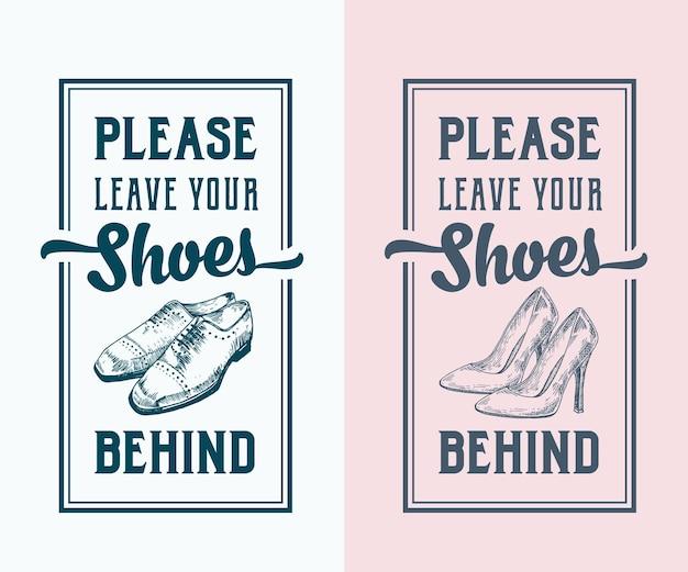 Por favor, deixe seus sapatos para trás. modelo abstrato de sinais, etiquetas ou cartazes.
