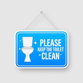 Por favor, mantenha a placa informativa do design plano dos banheiros. ilustração conservada em estoque