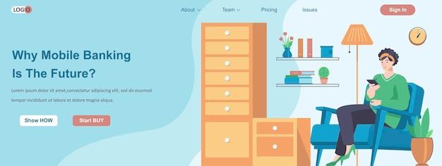 Por que o mobile banking é o futuro conceito de banner da web