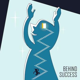 Por trás do conceito de sucesso: um empresário continua subindo escadas em estilo de linha