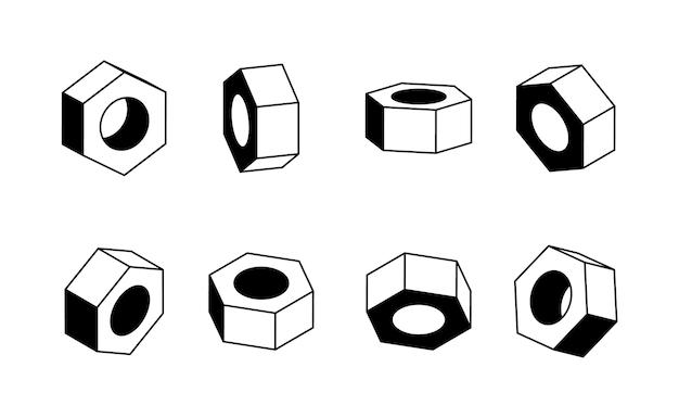 Porca em vários ângulos de design. modelo preto e branco para ícone ou logotipo.