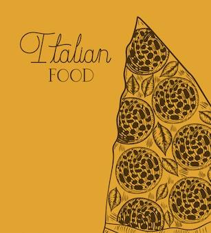 Porção de pizza italiana mão desenhada comida italiana