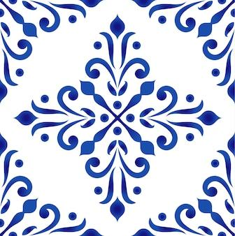 Porcelana padrão decorativo barroco e estilo damasco