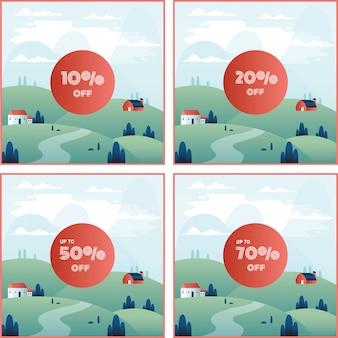 Porcentagem de desconto de banner fora com belo cenário de paisagem de montanha
