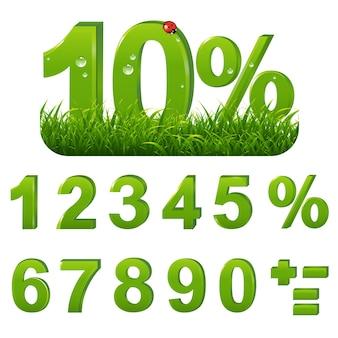 Porcentagens verdes definidas com grama com malha gradiente, ilustração