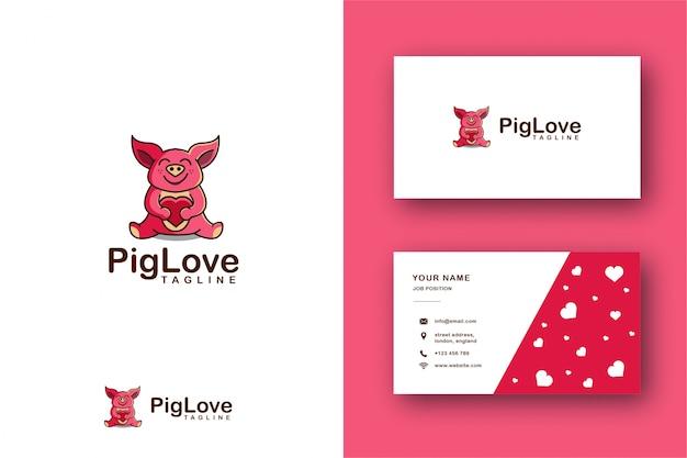 Porco abraça um logotipo de mascote de coração e cartão de visita