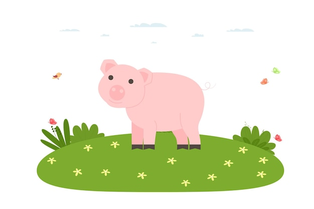 Porco. animal de estimação, doméstico e de fazenda. porco está andando no gramado. ilustração vetorial no estilo simples dos desenhos animados.