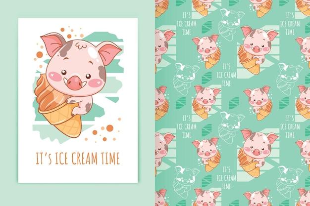 Porco bebê fofo abraçando a ilustração dos desenhos animados de sorvete e conjunto de padrões sem emenda