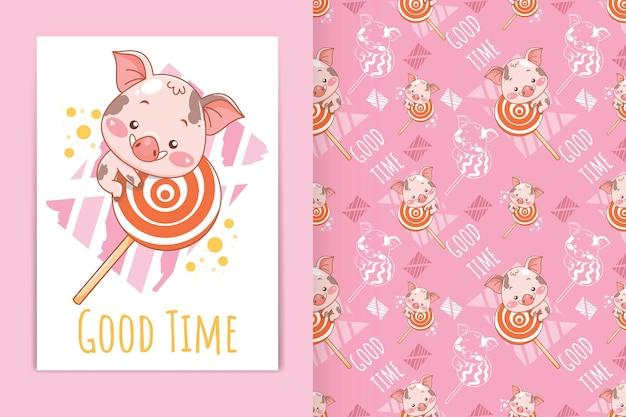 Porco bebê fofo com ilustração de desenho animado de pirulito e conjunto de padrões sem emenda