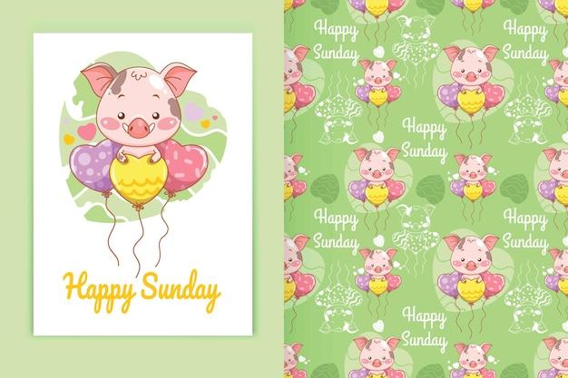 Porco bebê fofo com ilustração de desenho de balão de amor e conjunto de padrões sem emenda