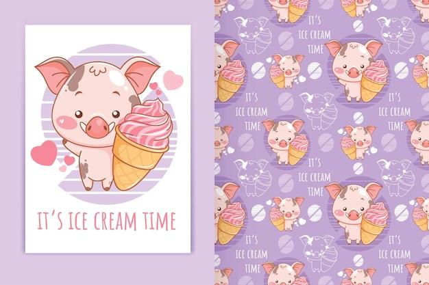 Porco bebê fofo segurando ilustração de desenho animado de sorvete e conjunto de padrões sem emenda