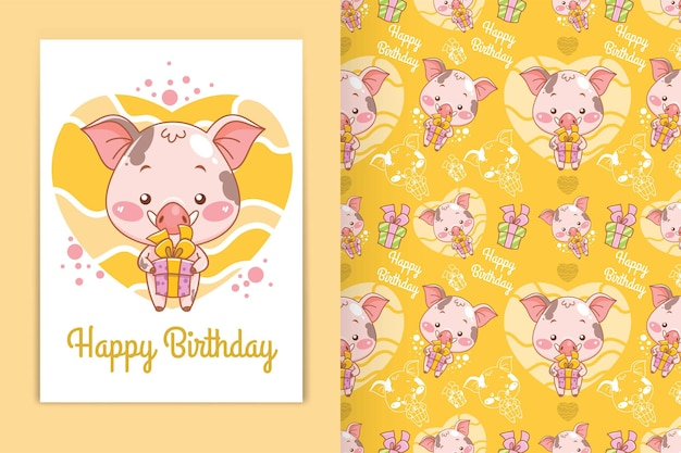 Porco bebê fofo segurando uma ilustração dos desenhos animados da caixa de presente e um conjunto de padrões sem emenda