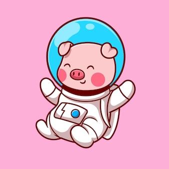 Porco bonito astronauta flutuante ilustração vetorial de ícone de vetor. conceito de ícone de tecnologia animal isolado vetor premium. estilo flat cartoon