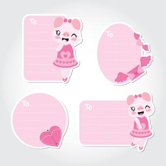 Porco bonito, carta de amor e ilustração de desenho de vetor de seta para design de etiquetas de presentes de namorados
