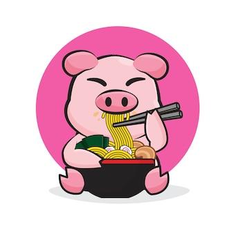 Porco bonito comendo uma ilustração dos desenhos animados de macarrão ramen.
