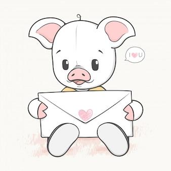 Porco bonito do bebê com mão de desenhos animados de carta de amor desenhada