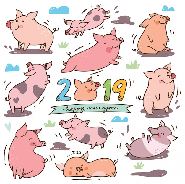 Porco bonito dos desenhos animados para o festival do ano novo chinês