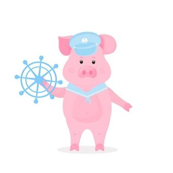 Porco bonito em um paletó de marinheiro e colarinho segura o volante do navio. animal engraçado. o símbolo do ano novo chinês 2019.