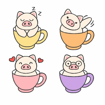 Porco bonito em uma xícara de chá mão desenhada cartoon coleção