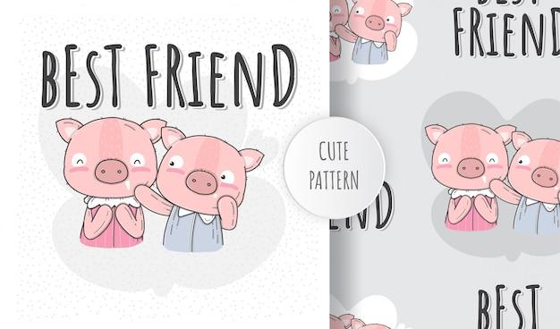 Porco bonito liso sem costura padrão com amigo