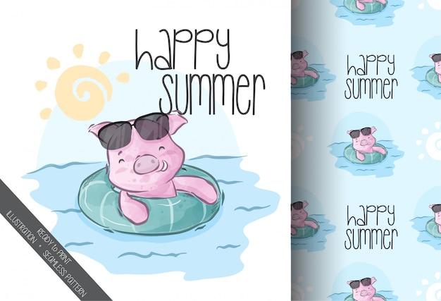 Porco bonito natação verão feliz sem costura padrão