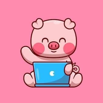 Porco bonito trabalhando na ilustração do ícone do vetor dos desenhos animados do laptop. conceito de ícone de tecnologia animal isolado vetor premium. estilo flat cartoon