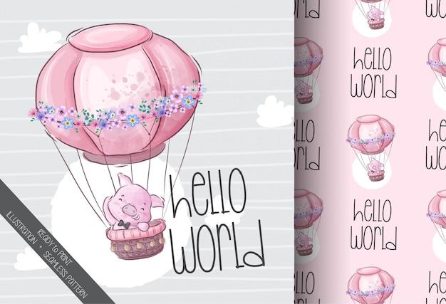 Porco bonito voando com padrão sem emenda animal de balão dos desenhos animados