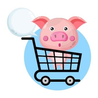 Porco carrinho de compras personagem fofo