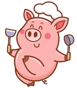 Porco chef dos desenhos animados