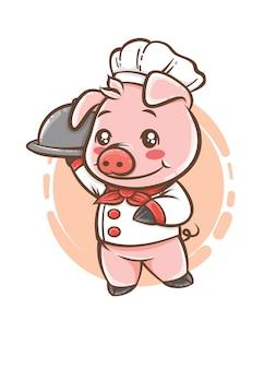 Porco chef fofo mascote personagem de desenho animado