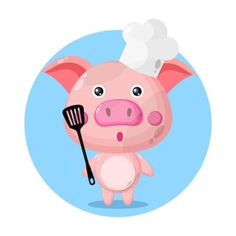 Porco chef personagem fofo